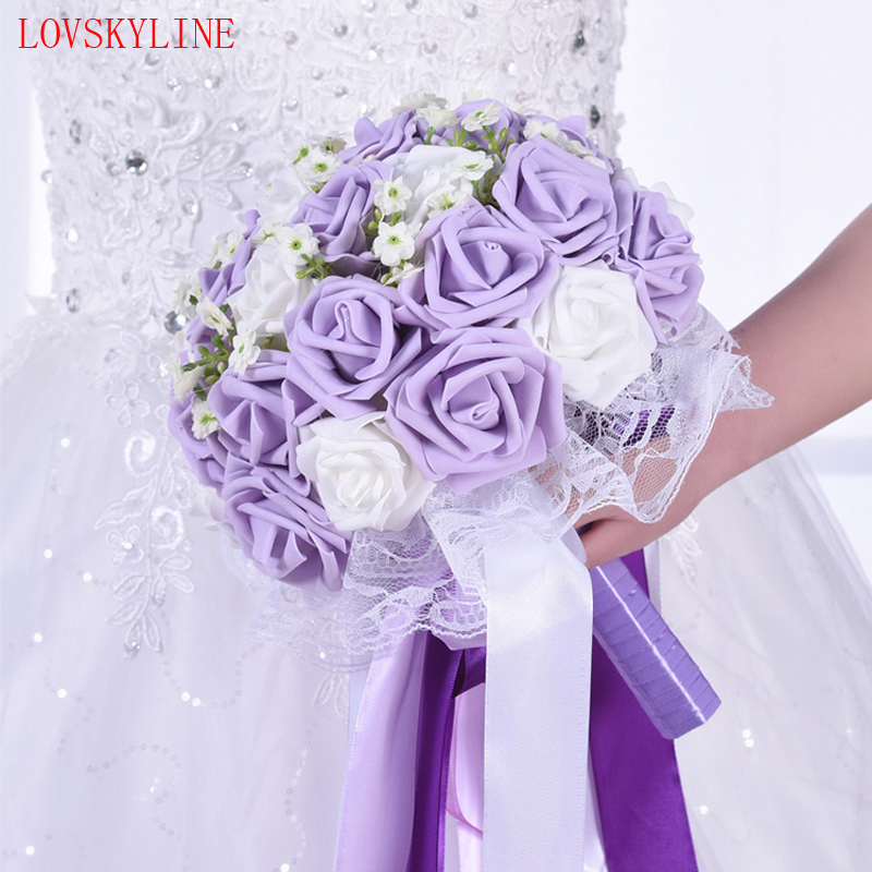 Artificial 26cm Wedding Bouquet Light Purple Rose Gypsophila Lace
