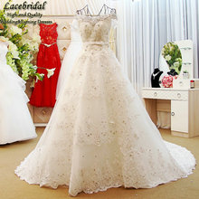 Dubai Sexy Luxury Ball Gown Lace Beaded Crystal Wedding Dresses 2016 Bow Belt Short Sleeve Bridal Gowns vestidos de novias XW111