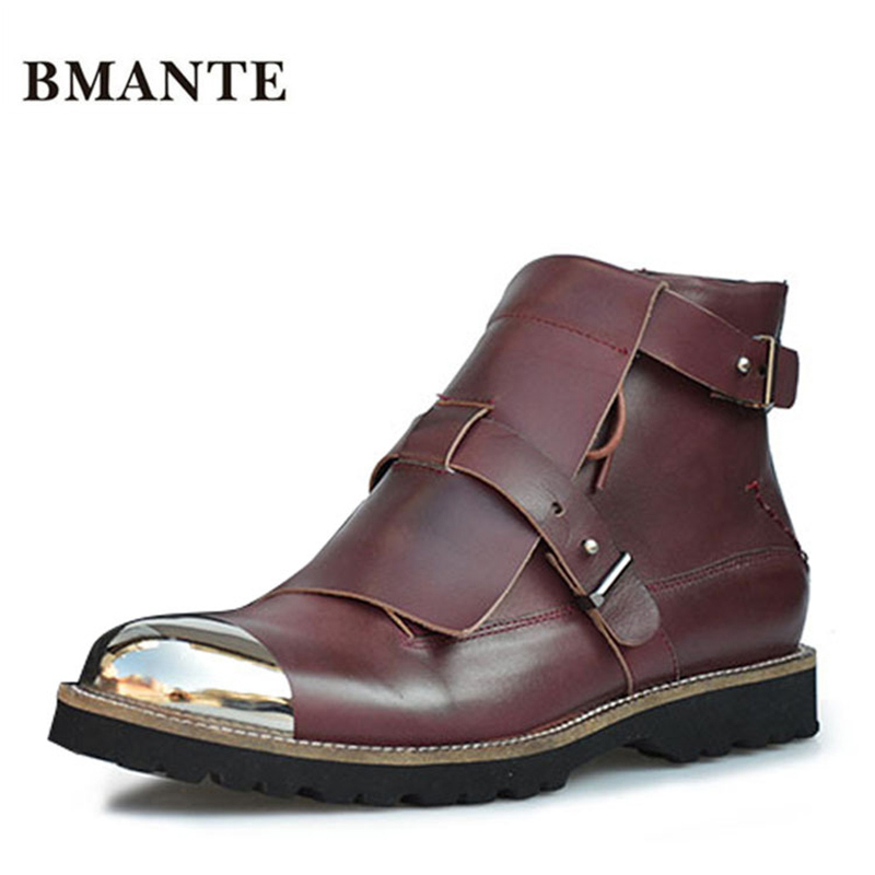 Male new Real leather Chaussure harnesses with chain metal tips chic Justin Bieber Chukka shoe crepe
