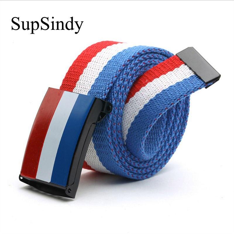 SupSindy Unisex Plain Webbing Waistband Casual Canvas Belt metal buckle Men Women Boy Jeans belts black strips Top quality 110cm