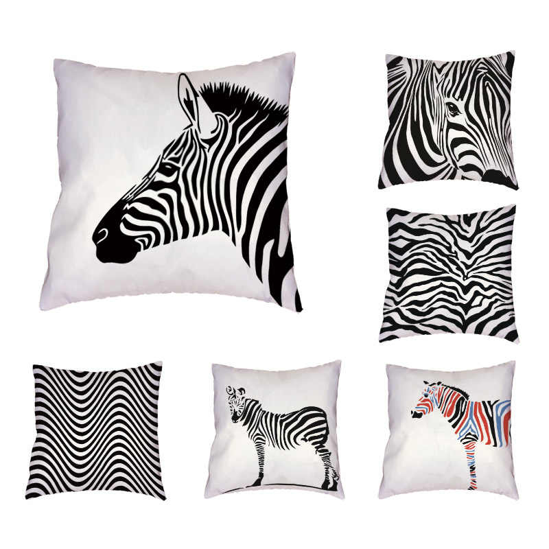 Lonely Zebra Throw Pillowcase Two Black