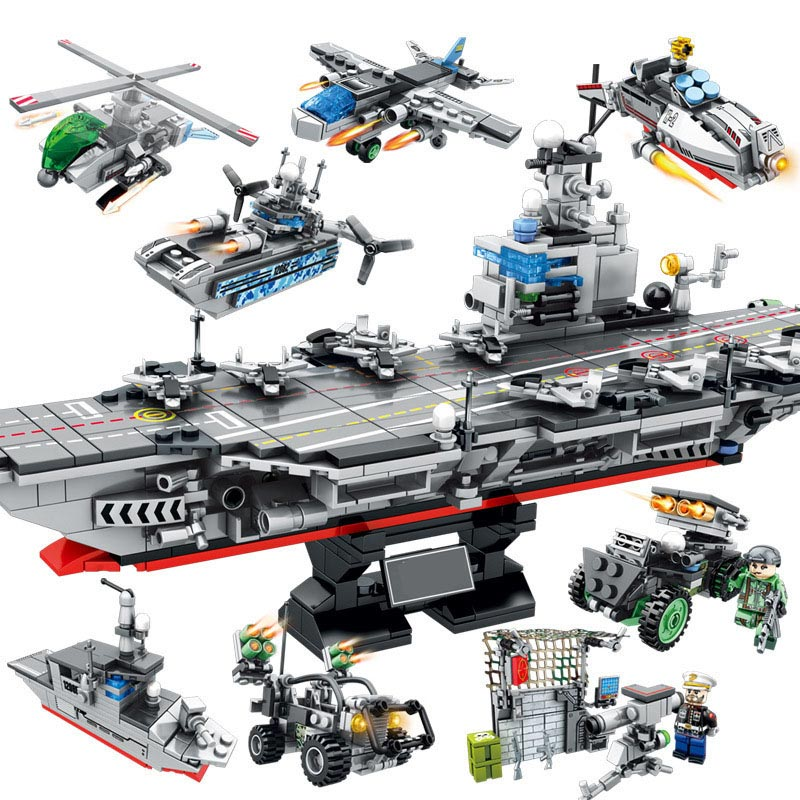 863PCS 8in1 Military Ship Model Soldiers Building Blocks Bricks Compatible Legoed Army Helicopter warship weapon bricks Toys sluban 883pcs military series army navy warship model building blocks cruiser plane carrier bricks gift toys for children