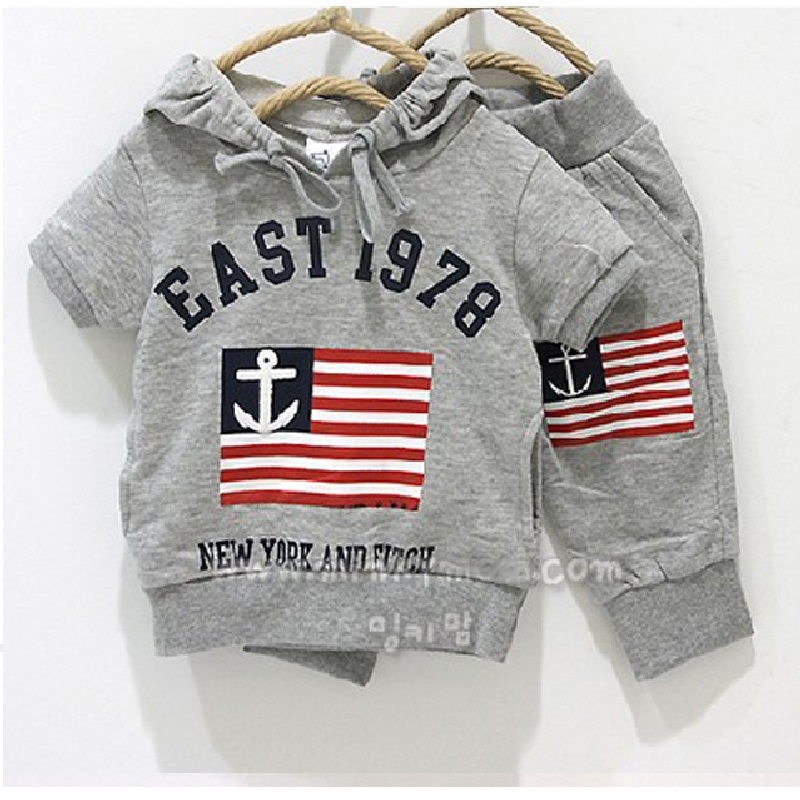 2016 Summer Spring Grey Sailor Flag Boys Hooded Sweatshirts Pants Sets Toddler Outfits 100% Cotton