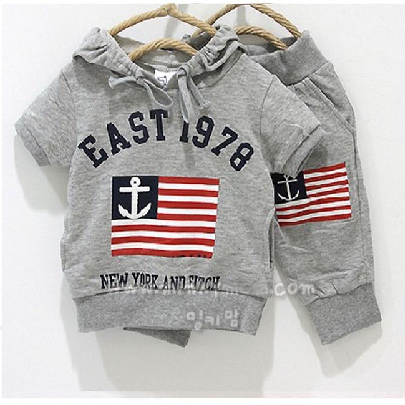 2016 sommer Frühling Grau Sailor Flag Jungen Mit Kapuze Sweatshirts Hosen Sets Kleinkind Outfits 100% Baumwolle