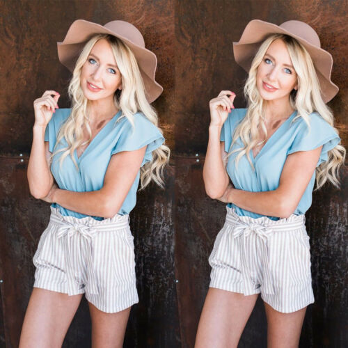 Hot Fashion Women Stripe High Waist Shorts 2019 New Summer Casual Loose Short Pants Beach Sun Protect Soft Striped Trousers