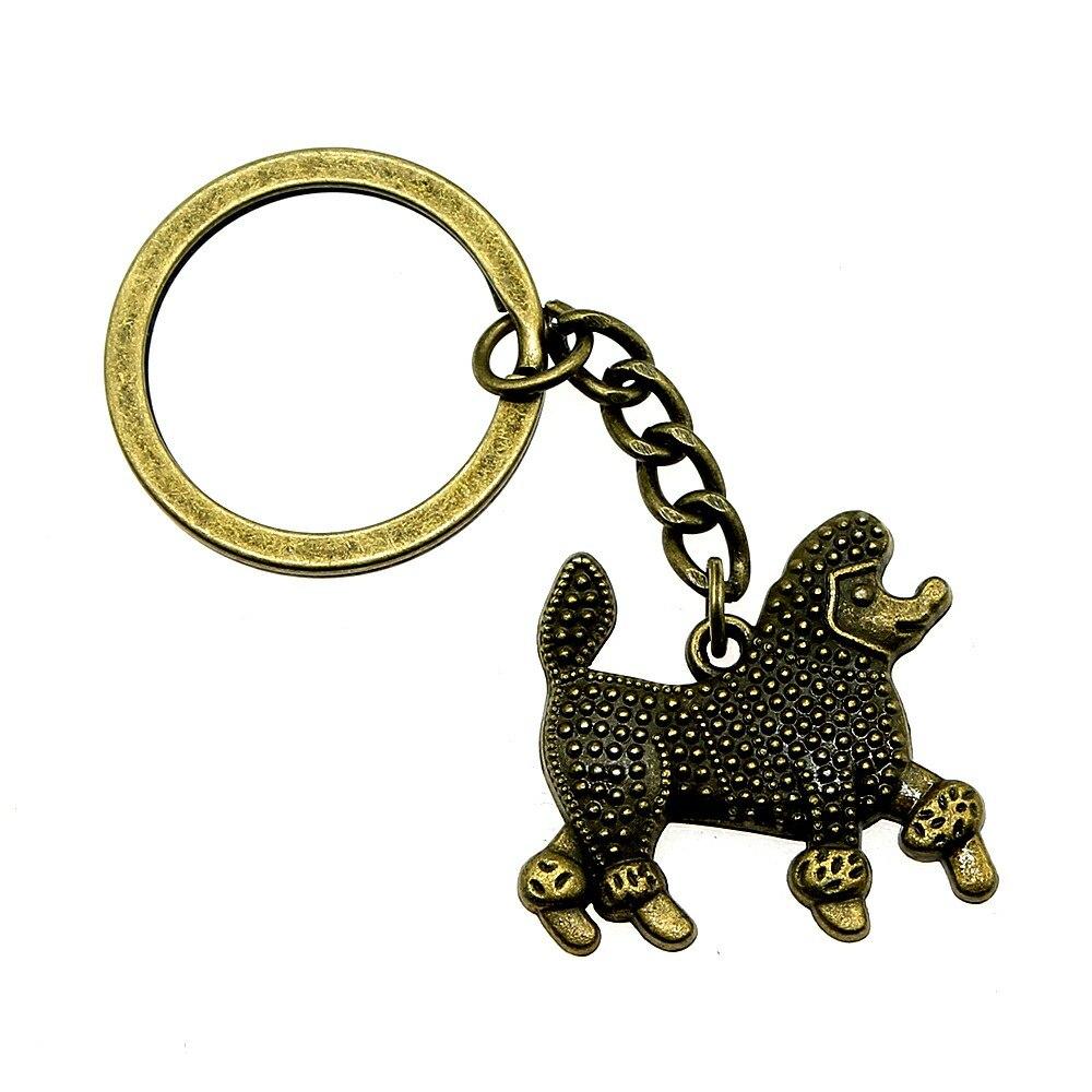 1 Stück Schlüssel Ring Hund Brautjungfer Geschenk Dropshipping Lieferanten 30x27mm Anhänger Antike Bronze Reinweiß Und LichtdurchläSsig