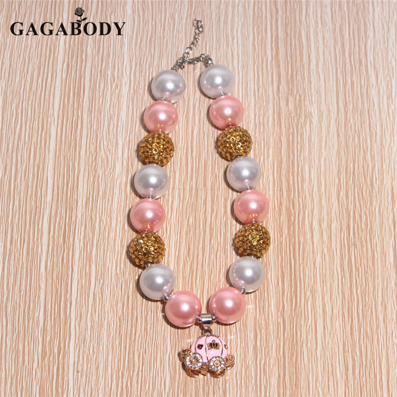 DIY Pink Pumpkin Car Pendant Chunky Bead Necklace Pink Gold and White Color Bubblegum Jewelry