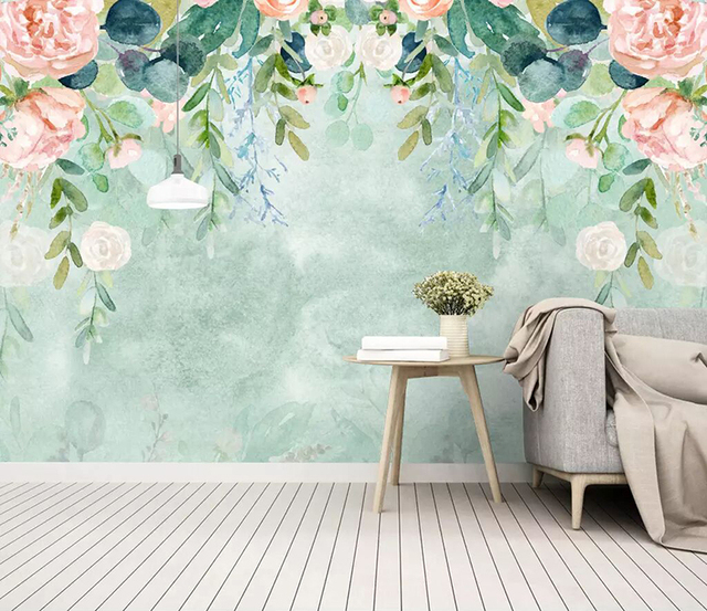8d Northern Europe Hand Painted Wall Paper Mural Watercolor Cartoon Flower Wallpaper Sticker For Living Room Decor