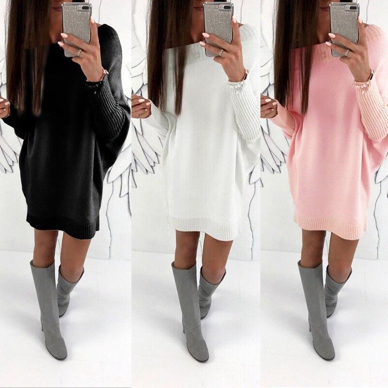 HIRIGIN Newest Womens Winter Long Sleeve Sweater Jumper Knit Ladies Loose Sexy Dress