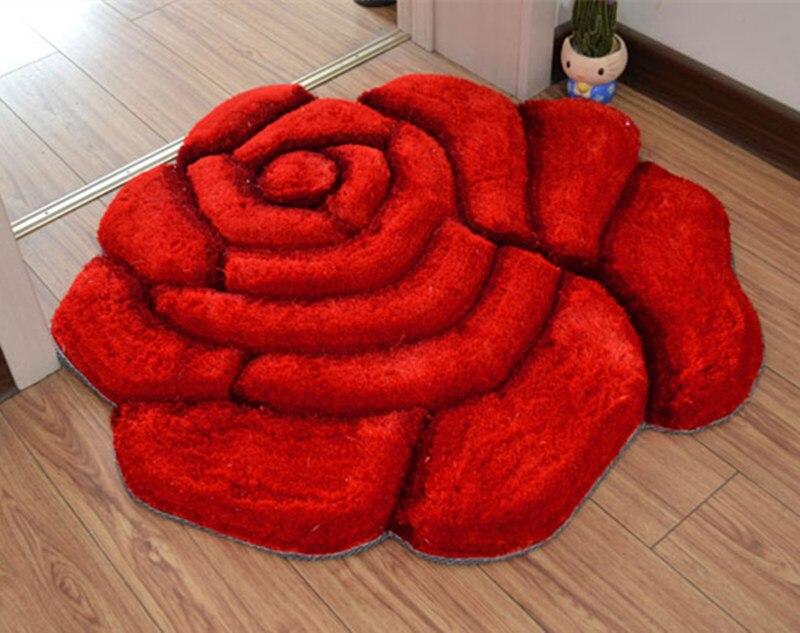 Яркий цвет, 3D Цветочный дизайн, ковер для спальни, коврик для ванной, нескользящий коврик для двери, коврик для пола, большой коврик для ванной комнаты, tapete banheiro - Цвет: dahongse