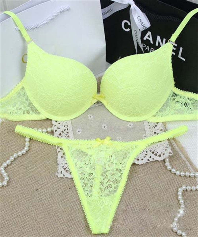 77d3e1c14b Brand Sexy Full Lace Floral Princess Underwear Bra Sets VS Push Up Bra and Thong  Set For Deep V neck Secret Women-in Bra   Brief Sets from Underwear ...