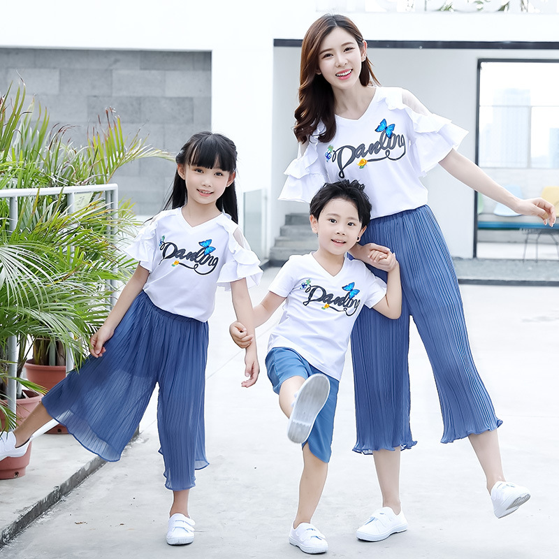 household matching clothes units mom daughter quick sleeve tees+pants daddy and son t shirt+shorts vacation garments journey outfit Matching Household Outfits, Low-cost Matching Household Outfits, household matching clothes units...