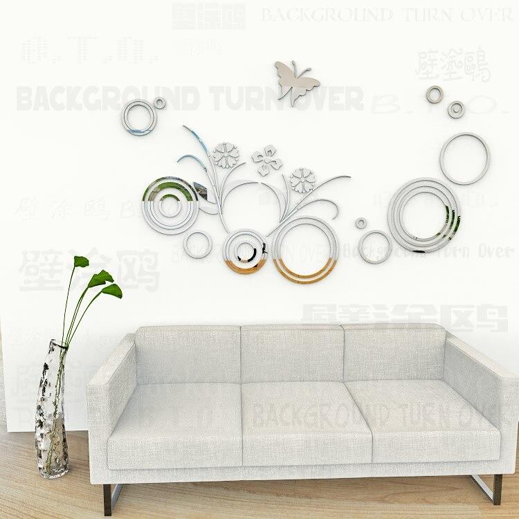 Bricolage amour motif cercle anneau herbe 3d papillon mur autocollant salon filles chambre plafond autocollants cheveux salon décor R075