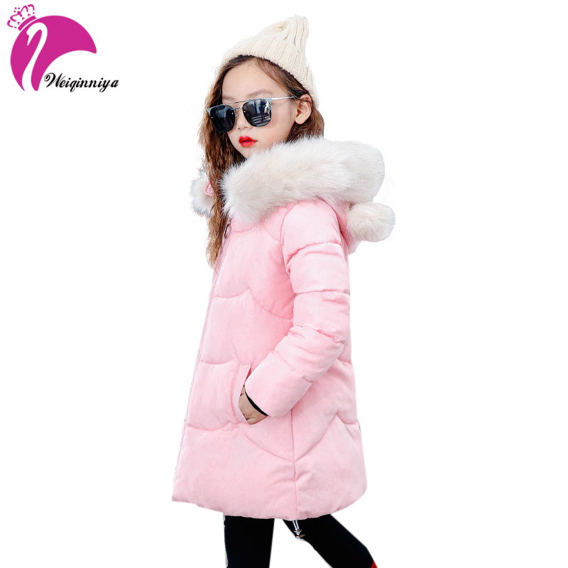 weiqinniya Girl Down Parkas Jackets Winter 2018 Kids Parka Fur Hooded Jacket For Girl Fashion Children Down Jacket Girls Jackets children girl jackets winter down coat jacket for girl fashion children fur hooded thick cotton down warm solid kid parka jacket
