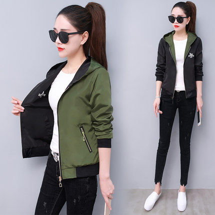 Windbreaker   Jacket   in Women Long Sleeve Hooded Coats Spring Autumn Casual Patchwork Zipper Up   Basic     Jackets   for Women Coat T313