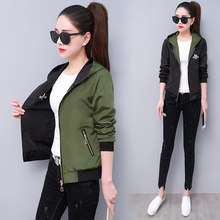 Windbreaker Jacket in Women Long Sleeve Hooded Coats Spring Autumn Casual Patchw