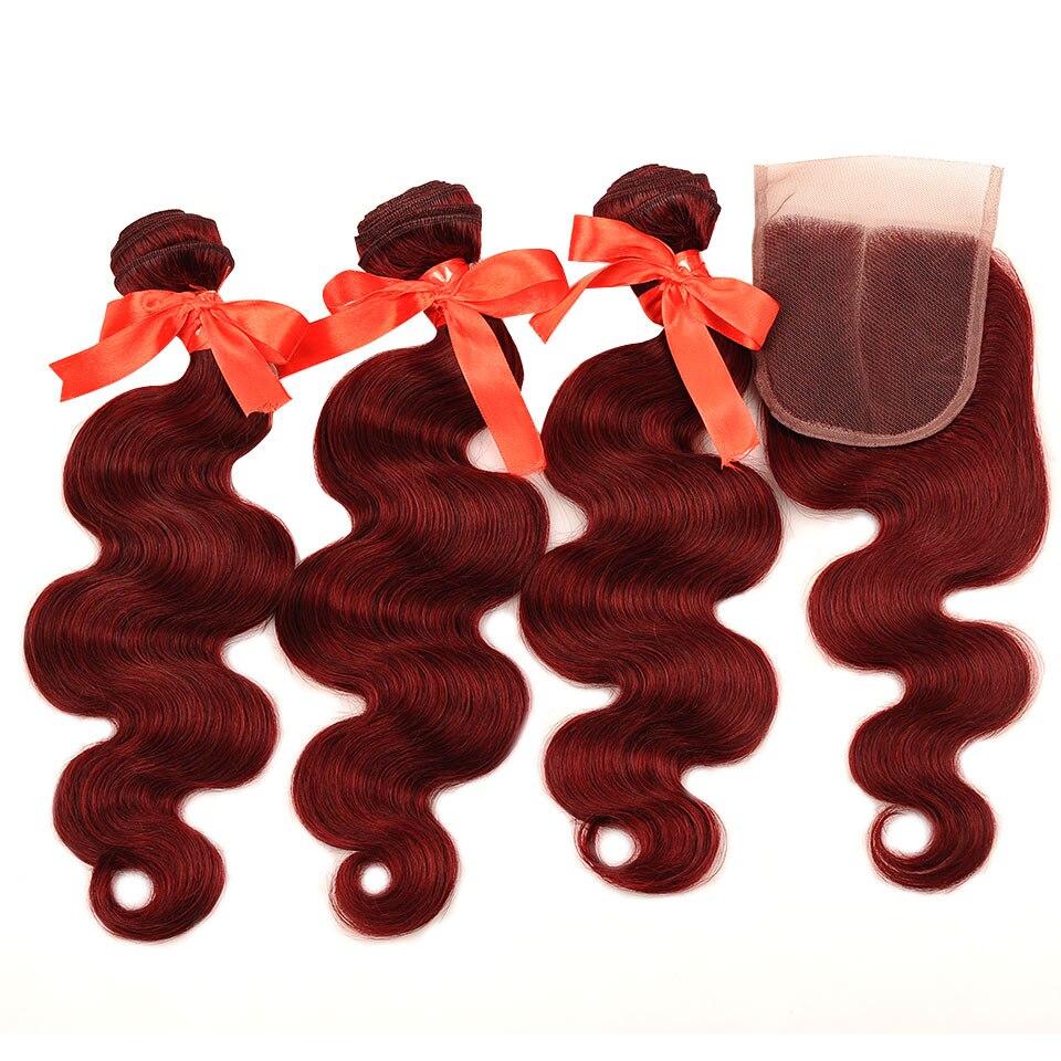 HTB18nbSj3DD8KJjy0Fdq6AjvXXa6 Pinshair 99J Hair Red Burgundy Bundles With Closure Brazilian Body Wave Human Hair Weave Bundles With Closure Non Remy No Tangle