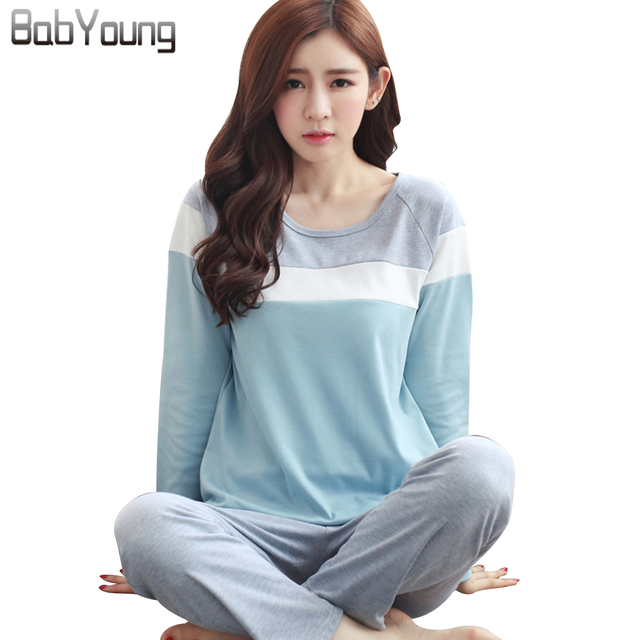 8111d078cd BabYoung 2018 Spring Women Pajamas Sets Cotton Pijamas Mujer Patchwork Pyjamas  Femme Long Sleeve Sleepwear Female