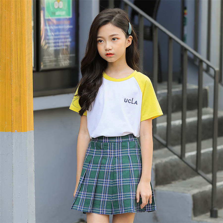 children clothes summer girls skirts yellow above knee mini high waitst skirt plaid skirt set for girls summer clothes 6 16years
