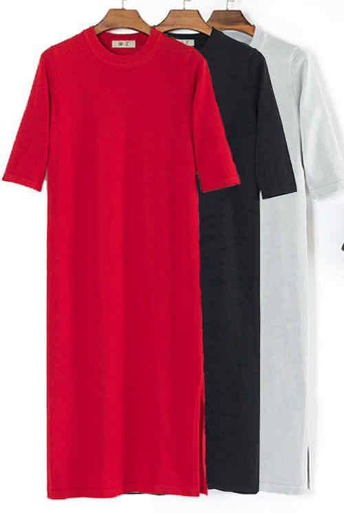 GETSRING Mulheres Vestidos de Verão Vestido de Manga Curta Trecho de Malha Plus Size Em Linha Reta T Vestido de Camisa Divisão Sólida Longo Ocasional Solto