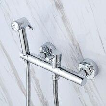 Chrome Toilet Portable Bidet Shower Set, ABS plastic Handheld Bidet spray ,With Solid Brass Hot and Cold Water Bidet Mixer valve