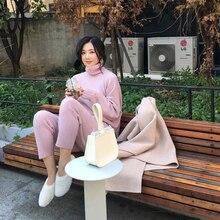 Frühling Winter Strick Trainingsanzug Rollkragen Sweatshirts Mode Frauen Anzug Kleidung 2 Stück Set Hose Weibliche