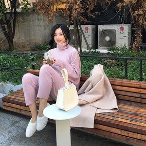 Image 1 - Spring Winter Knitted Tracksuit Turtleneck  Sweatshirts Fashion Women Suit Clothing 2 Piece Set  Pant Female