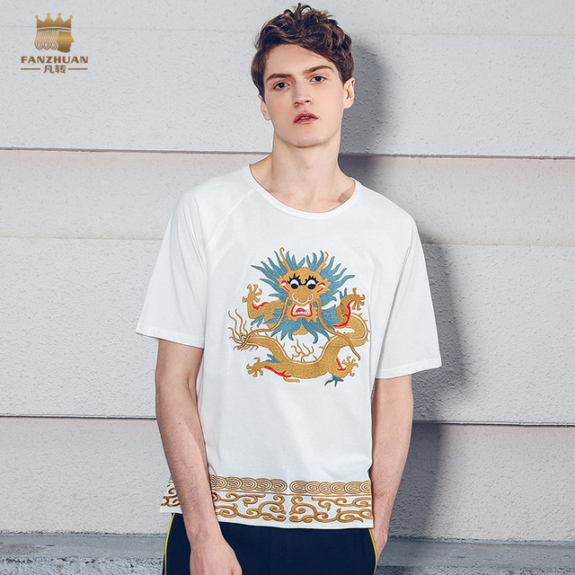 b068af1c9f2 Fanzhuan free shipping casual 2018 New male MEN S fashion Chinese style  dragon short sleeved 3D embroidery