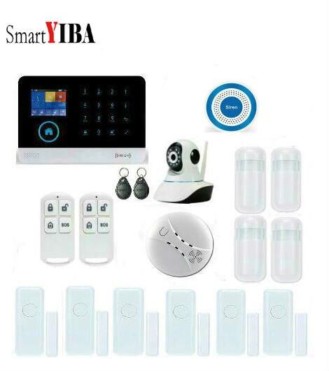 SmartYIBA WIFI GSM alarme APP contrôle système de Surveillance de sécurité à domicile réseau IP caméra sans fil alarme capteur Alarmes Kit
