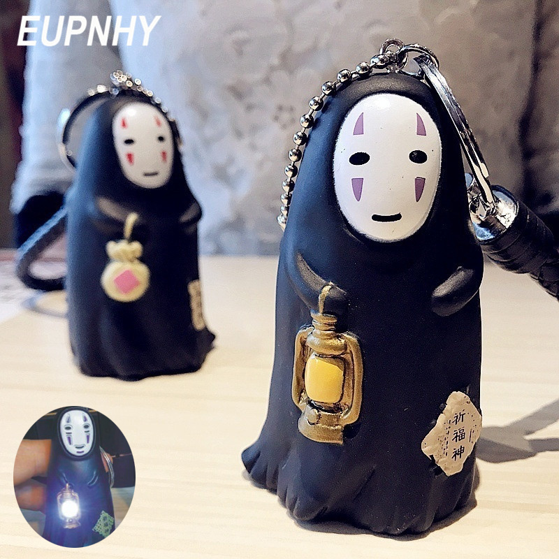 EUPNHY Double Side Spirited Away No Face Man Figure LED Keychain With Sound Anime Pendant Key Chains Key Holder Great Gifts