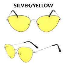 2019 New Sunglasses Cat Eye Trendy Fashion Pink Yellow Clourfu lSunglasses Metal For Men and Women Trend