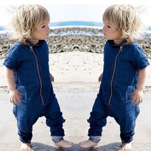 Baby Newborn Clothes Rompers Boys Denim Romper 2017 Babies Fashion zipper Casual Jumpsuits Baby clothing