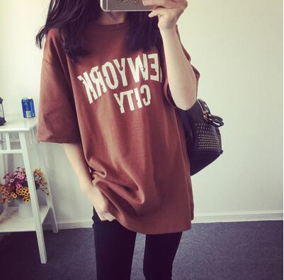 ad521ee0c7b0 Donne di estate carino clothing moda casual allentato lettera o-collo del  cotone del bicchierino-manicotto t-shirt plus size nero marrone bianco