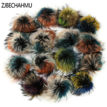 ZJBECHAHMU Real Raccoon Fur Fluffy Pompoms 100% Natural Genuine Fox PomPomS Cap Women Winter Hats Accessories High Quality