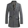 2016 novo inverno Coreano long slim casaco masculino casaco de lã quadriculado