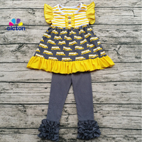 Sunny Girl Clothing Children Fall Ruffle Clothing Set Baby School Bus Print Back To School Outfit