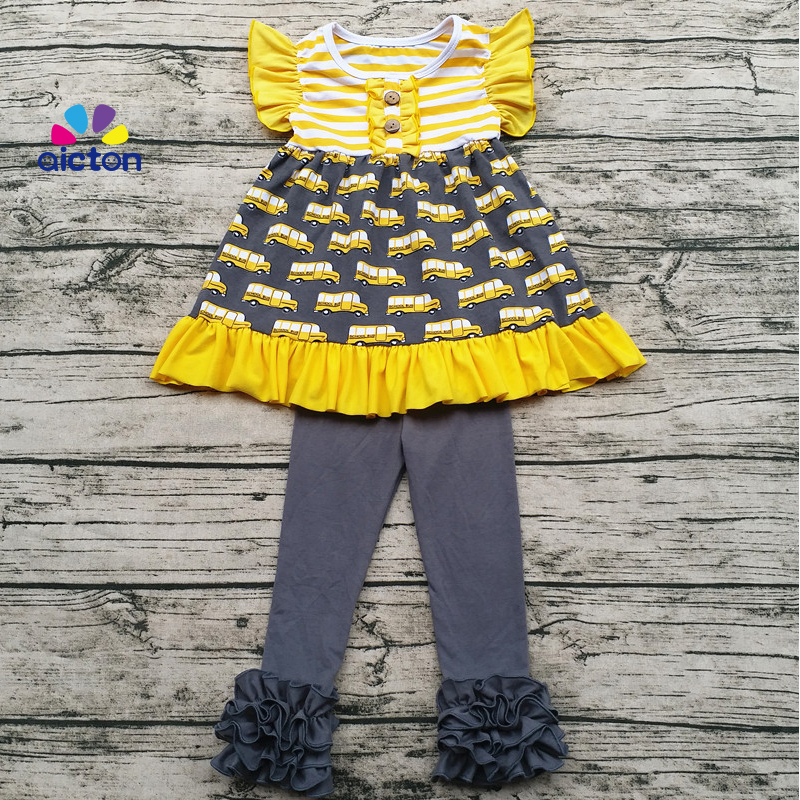 Sunny Girl Clothing Children Fall Ruffle Clothing Set Baby School Bus Print back to school Outfit Wholesale Baby Sweet Girl Clo