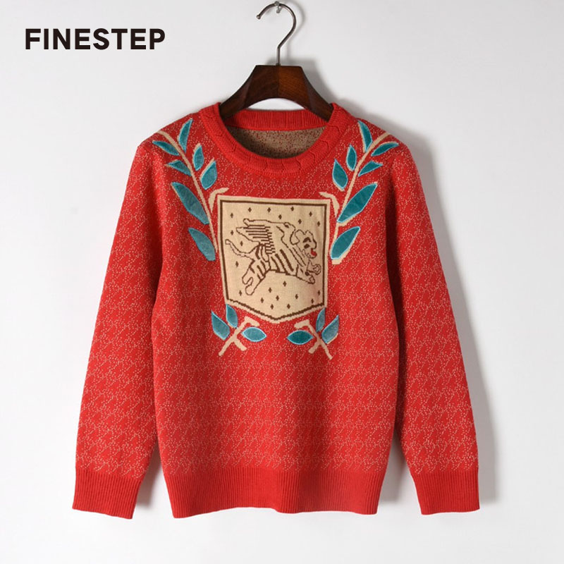 Spring Sweaters Ladies Floral Sweater Long Sleeve Designer 2018 Fashion Red Sweater Women