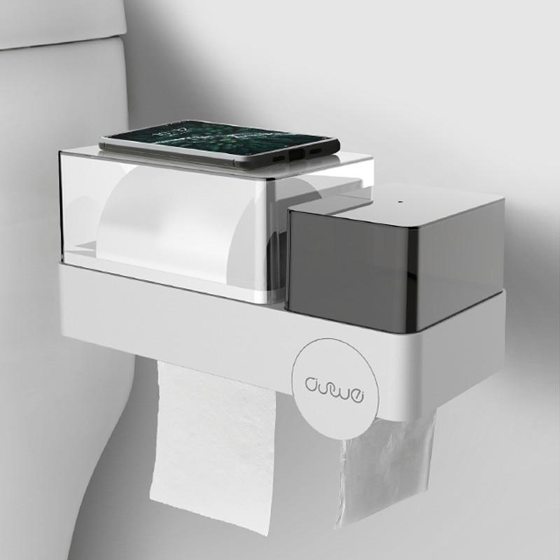New Fashion Bathroom Tissue Box Toilet Free Punching Visible Waterproof Roll Tissue Tray Waterproof Sanitary Cotton Storage Rack