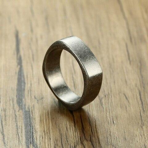 Мужское Винтажное кольцо из нержавеющей стали серое 7 мм для