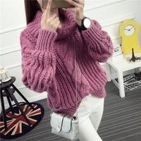 2018 new winter dress turtleneck sweater loose coarse wool sweater Korean turtleneck sweater coat twist