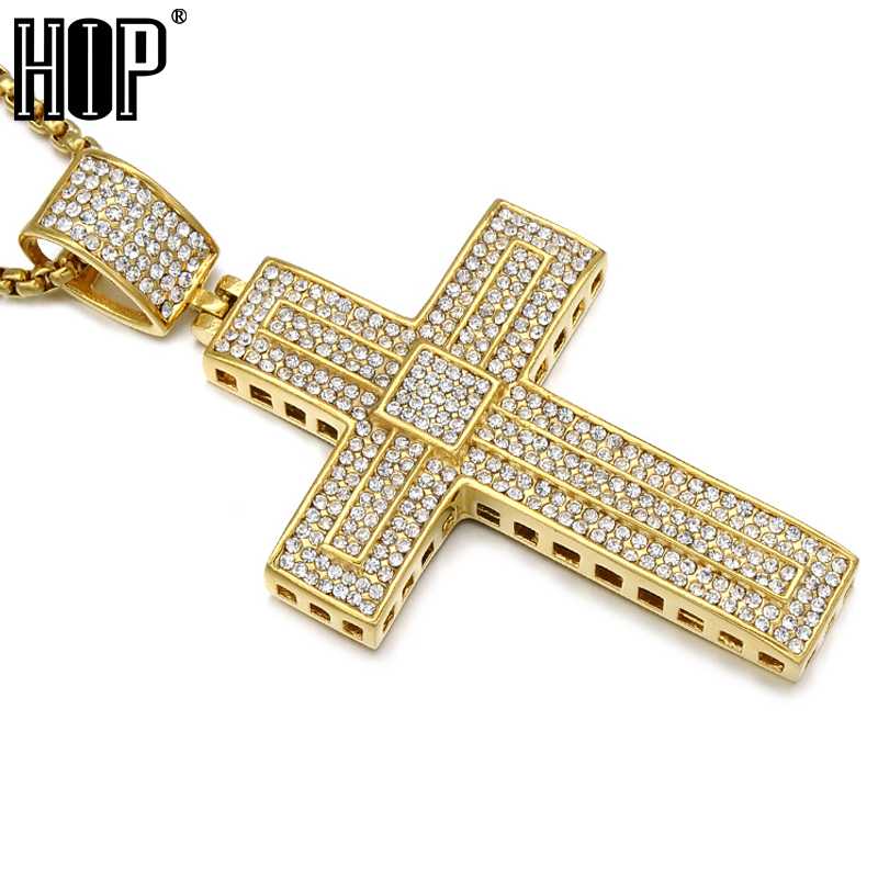 Hip Hop Micro Pave Full Rhinestone Stainless Steel Iced Out Double Layer <font><b>Cross</b></font> Pendants Necklaces for Men Jewelry