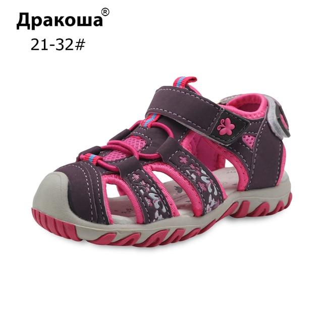 Apakowa ילדי נעלי בנות סנדלי קיץ סגור הבוהן סנדלי עבור בנות ילדים ילדים קטנים חוף סנדלי וו & לולאה גודל 21-32