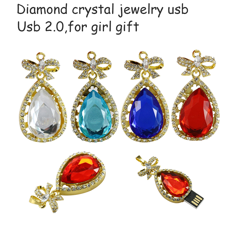 2016 crystal usb flash drive real capacity new jewelry necklace 4g 8g 32g 64g memory usb stick u disk pen drive pendrive For PC
