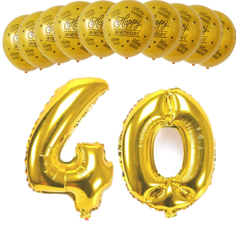 12pcs Gold Black Happy Birthday Balloons Figure 0-9 Foil Balloons 10 20 30 40 50 60 70 80 90 Years Adult Birthday Party Supplies