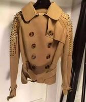 High Quality Women Leather Jacket Amazing Rivet Sleeve Bomber Winter Jacket Women 100 Sheepskin Coat Amazing