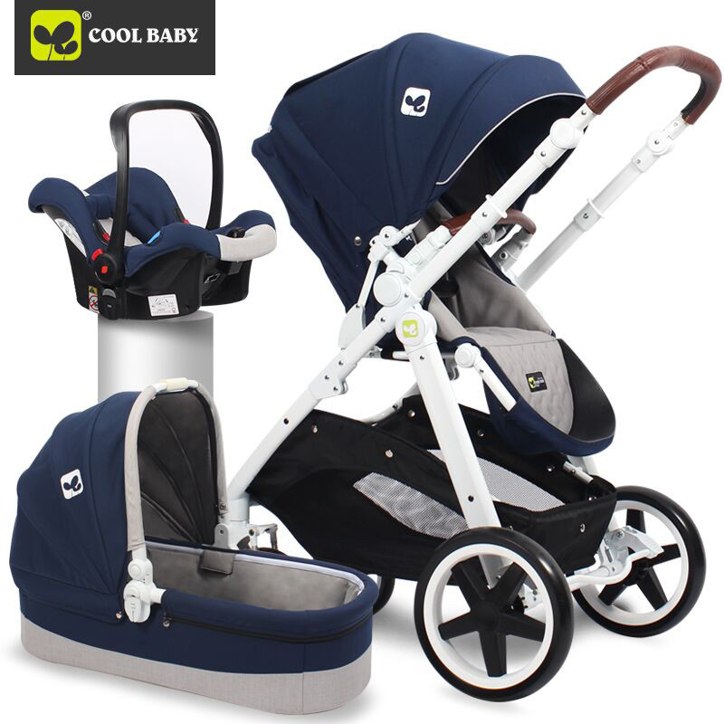 2017 High View 3-in-1  with Car seat Coolbaby Dual-use Stroller Light Foldable Stroller Two-Way Stroller Shock-Up Baby Stroller royal view place 3 паттайя