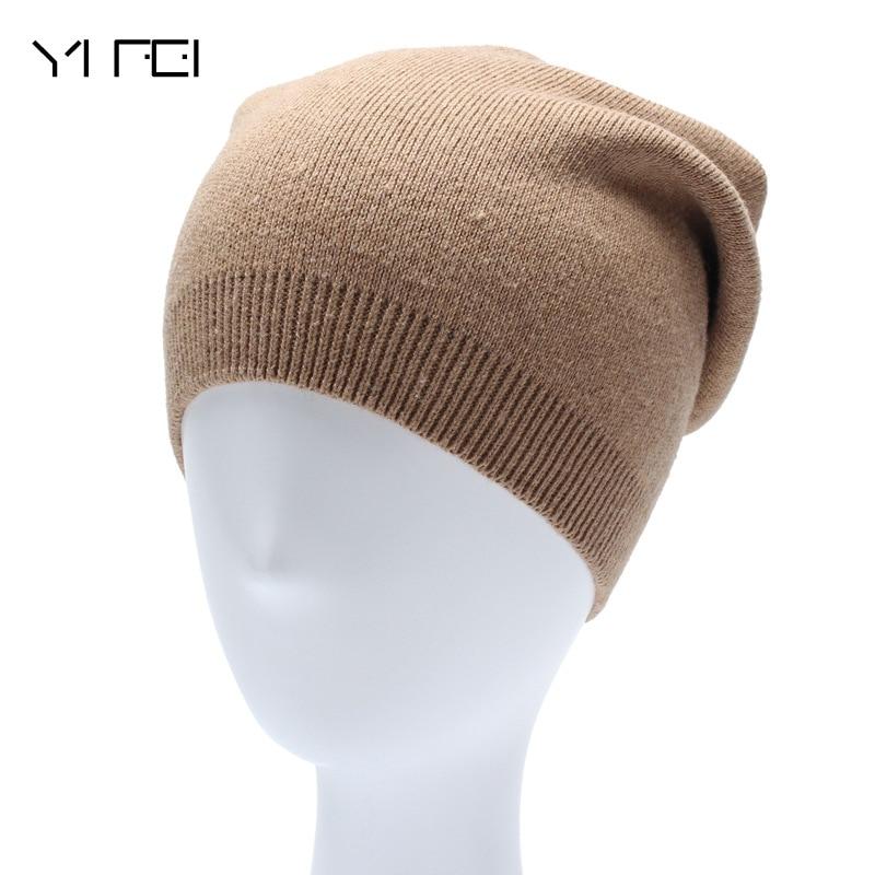 YIFEI 2017 Autumn Unisex Winter Watch Cap Woman Wool Knit Beanie Cap Braided Hat Skull Hats For Women Bonnet Casquette Homme