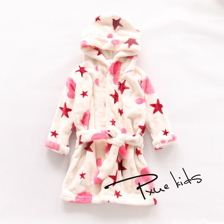 Fashion Children Robes Flannel Print Boys Girls Gown Long Sleeve ...