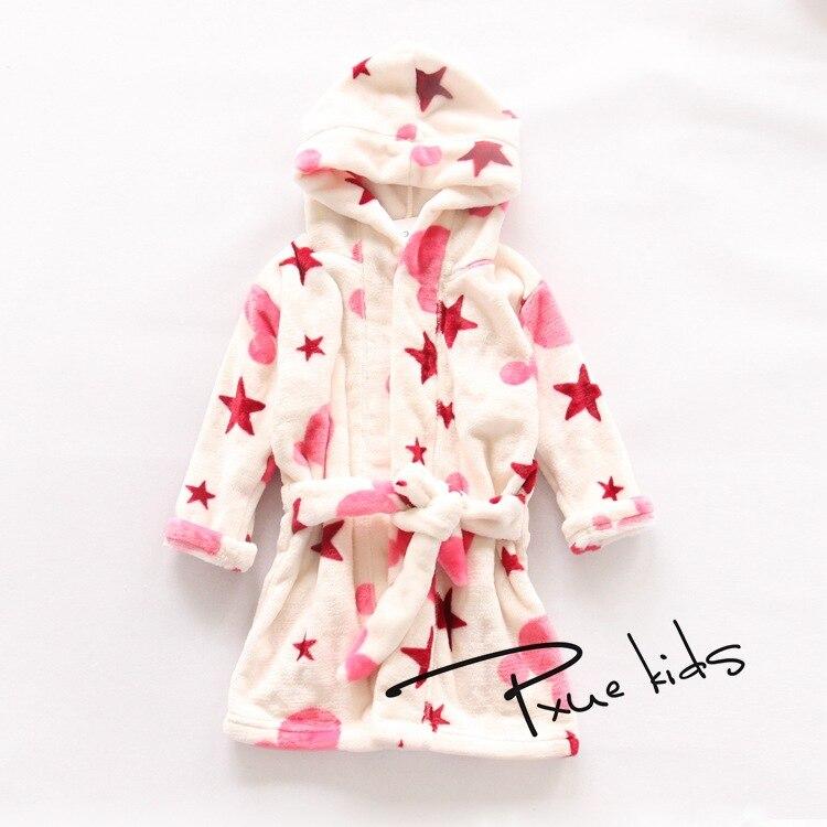 2015 New Baby bathrobe Children kids Pajamas cartoon bath robe baby homewear boys girls hooded robe beach towel Mink velvet